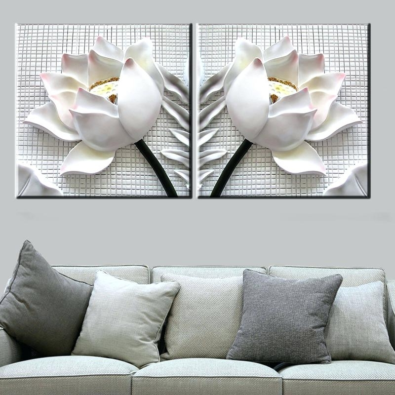 Widely Used Modern 3D Wall Art White Lotus Flowers Modern Canvas Art Wall Decor Intended For White 3D Wall Art (View 15 of 15)