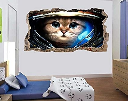 Widely Used Mural Wall Art Startonight 3D Photo Decor Astronaut Cat Amazing Dual Regarding Astronaut 3D Wall Art (View 15 of 15)