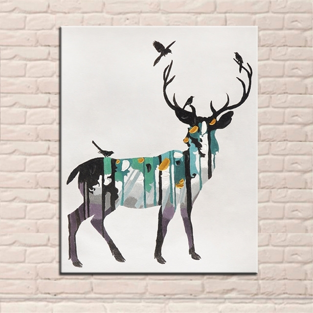 Widely Used New Design Hand Painted Modern Abstract Animal Elk Oil Paintings Inside Abstract Deer Wall Art (View 14 of 15)