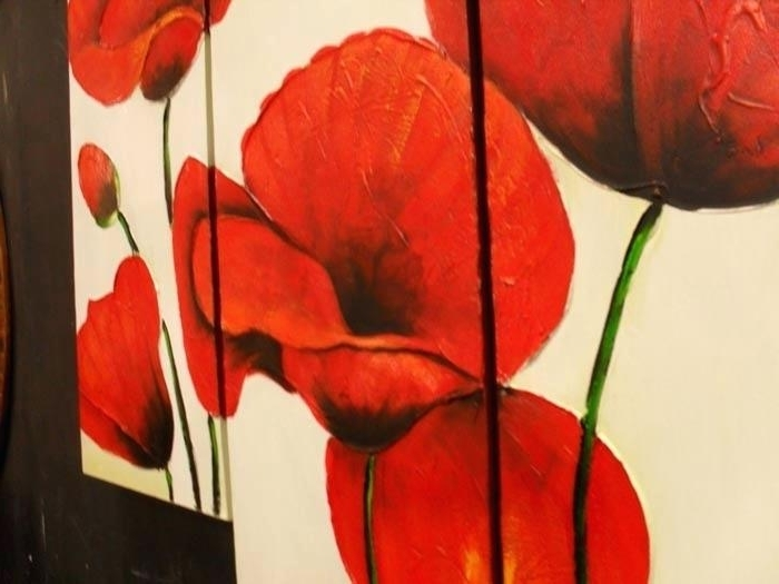 Widely Used Red Poppy Canvas Wall Art Red Poppy Set Of 3 Canvas Wall Art Larger Regarding Red Poppy Canvas Wall Art (View 15 of 15)