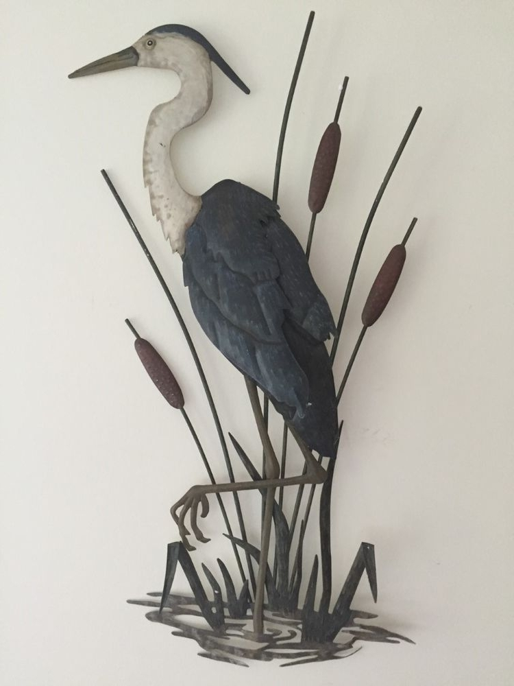 Widely Used Seaside Metal Wall Art With Regard To Nautical Beach Heron Coastal Metal Wall Decor Lake Seaside, Coastal (View 15 of 15)