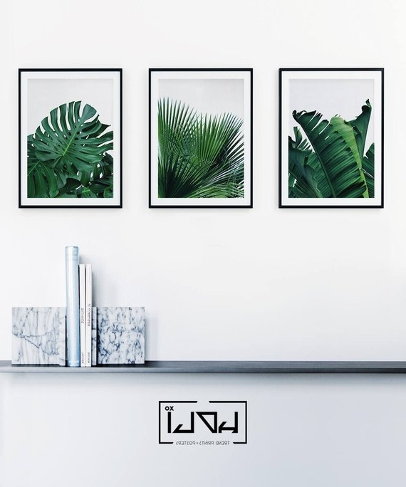 Widely Used Set Of 3 Prints Tropical Leaf Print Set Leaf Wall Art (View 15 of 15)