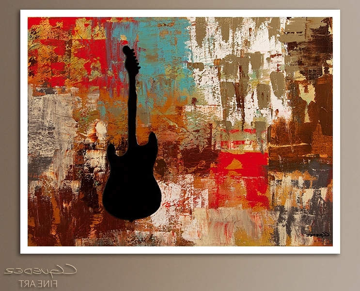 Widely Used Signed Fine Art Canvas Prints And Posters Of Contemporary Abstract Pertaining To Guitar Canvas Wall Art (View 3 of 15)