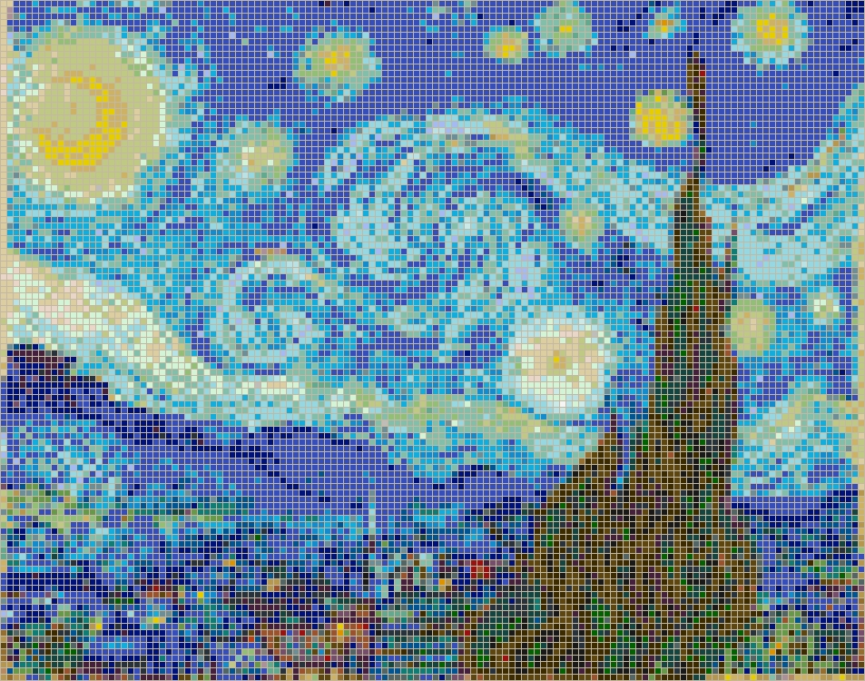 Widely Used Starry Night (Van Gogh) – Framed Mosaic Wall Art With Pixel Mosaic Wall Art (View 5 of 15)