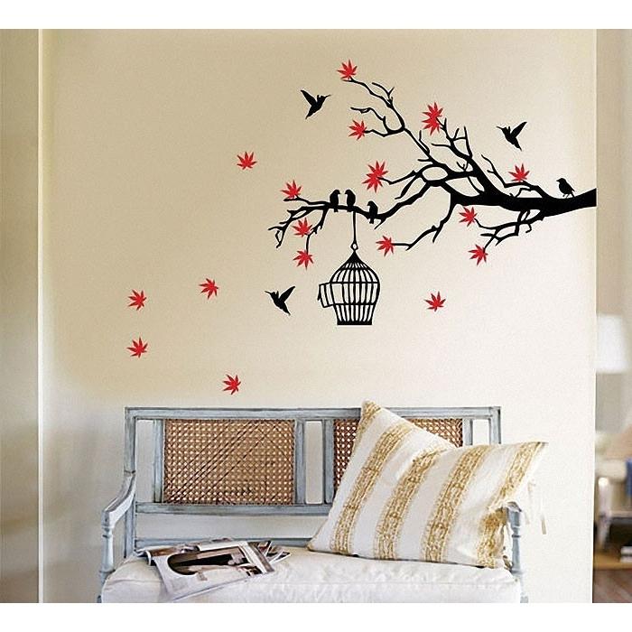 Widely Used Tree Branch Wall Art Pertaining To Tree Branch Blossoms With Birds And Birdcage Wall Art Decal (View 5 of 15)