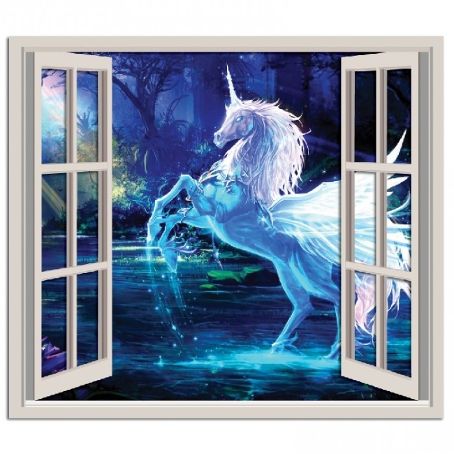 Widely Used Unicorn 3D Window Wall Sticker Fairytale Fantasy Wall Decal Girls Regarding 3D Unicorn Wall Art (View 15 of 15)