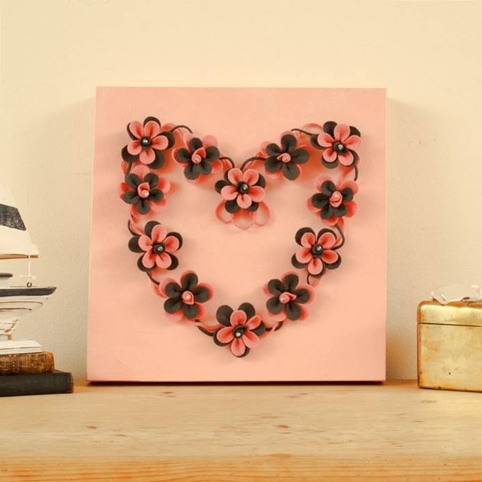 Widely Used Unique 3D Wall Art Within 1 Of 3 Photos & Pictures – View Craft On Canvas 3D Heart Of Flowers (View 13 of 15)