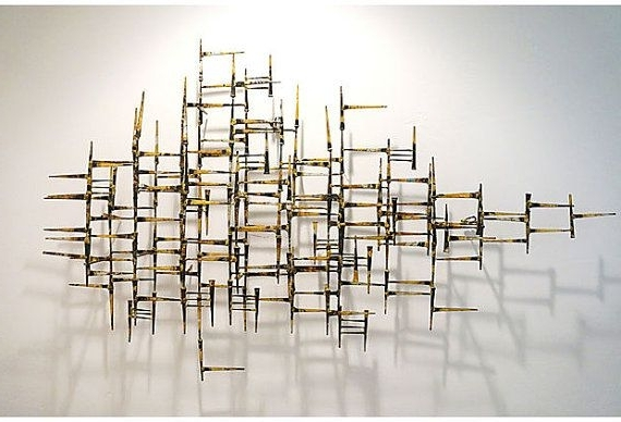 Widely Used Vintage Abstract Geometric Modern Metal Wall Sculpture On, Geometric Pertaining To Geometric Modern Metal Abstract Wall Art (View 15 of 15)