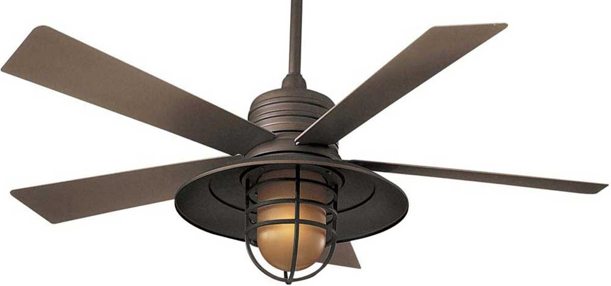Widely Used Vintage Look Outdoor Ceiling Fans For Ceiling: Awesome Ceiling Fan With Cage Light Ceiling Fans With (View 2 of 15)