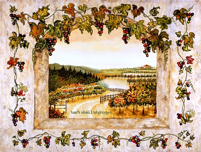 Wine Decor – Grapes, Vine, Vineyard Art On Canvas And Tile Regarding Recent Grape Wall Art (View 15 of 15)
