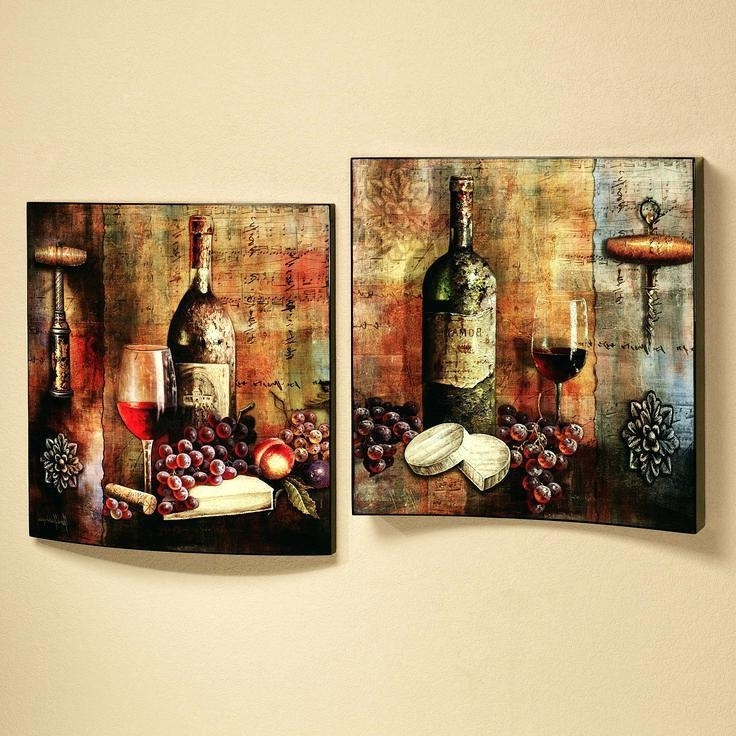 Wine Theme Wall Art Throughout Popular Wall Art Wine Theme Vineyard Wine Tasting Wall Art Set Multi Jewel (View 12 of 15)