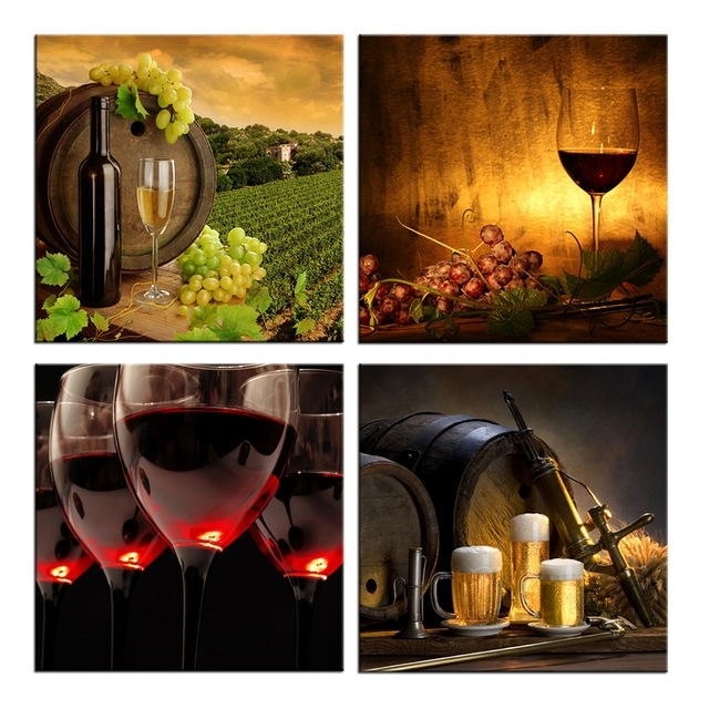 Wine Theme Wall Art within Famous 4 Piece Canvas Wall Art Wine Themed Prints Red Wine With Cups And