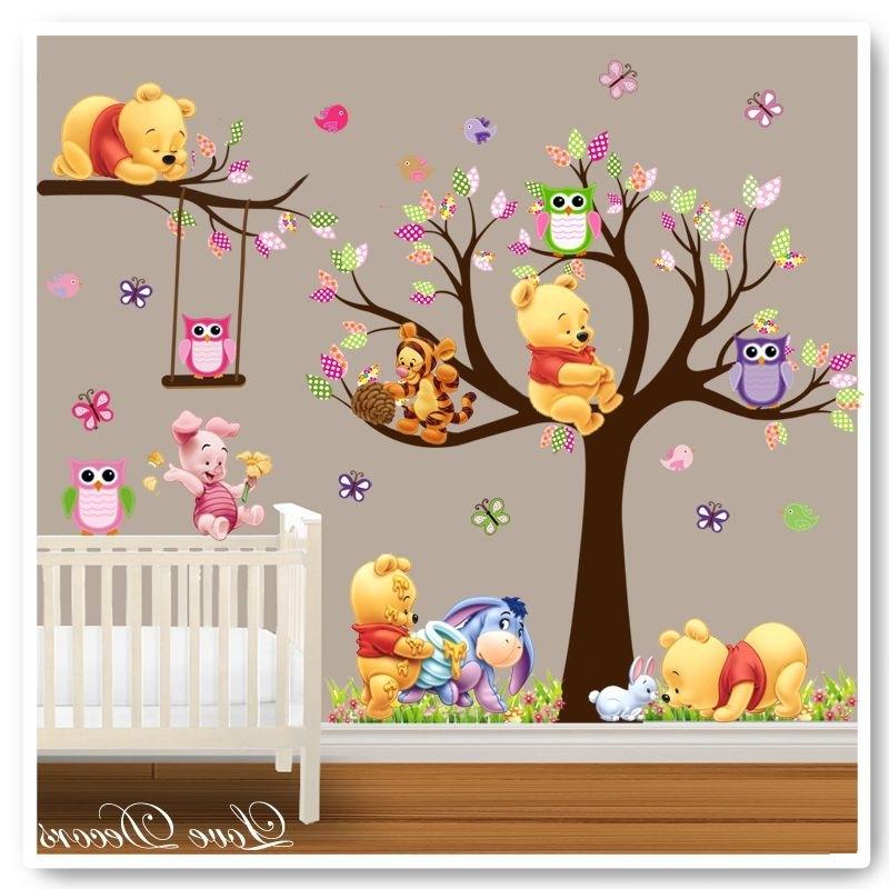 Winnie The Pooh Wall Art For Nursery Intended For Well Known Winnie The Pooh Wall Stickers Owl Animal Nursery Baby Kids Room Tree (View 2 of 15)