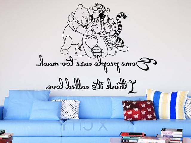 Winnie The Pooh Wall Decals Quotes Vinyl Sticker Some People Care With Most Up To Date Winnie The Pooh Nursery Quotes Wall Art (View 8 of 15)