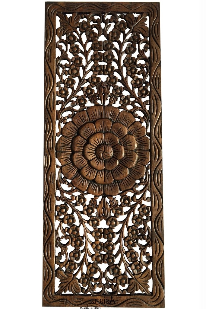 Wood Carved Wall Art Panels For Popular Carved Wood Floral Wall Art Panel Home Decor X Art Galleries In Wood (View 2 of 15)