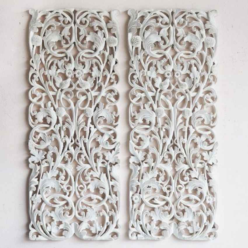 Wood Carved Wall Art Panels regarding Well-liked Pair Of Wall Art Panel Wood Carving Sculpture Siam Sawadee Carved