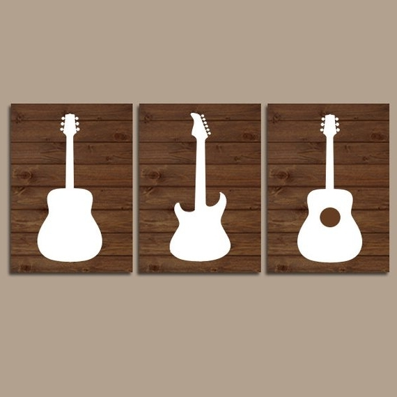 Wood Guitar Wall Art Music Theme Nursery Boy Bedroom Wall (View 14 of 15)