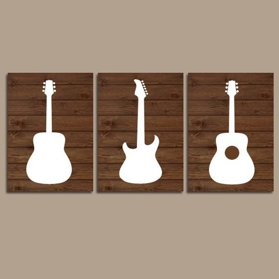Wood Guitar Wall Art Music Theme Nursery Boy Bedroom Wall (View 15 of 15)