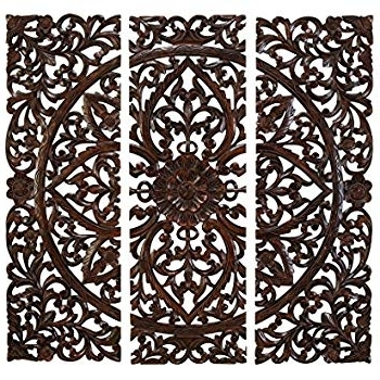 Wood Wall Art Panels For 2018 Amazon: Asiana Home Decor Large Carved Wood Wall Panel (View 5 of 15)