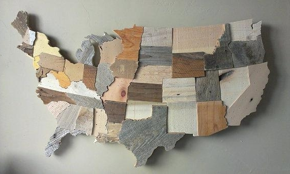 Wood Wall Art Wooden Wall Hanging Map Of Us Wooden Map Wall Art With Most Current Wall Art On Wood (View 15 of 15)