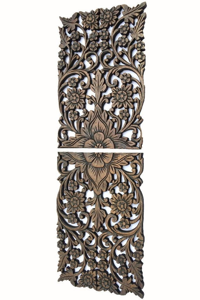 Wood Wall Decor Flower. Multi Panels Asian Home Decor (View 9 of 15)