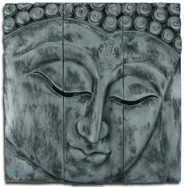 Wooden Buddha Face Wall Art Panel 60Cm X60Cm 24X24 Old Silver Intended For Recent Silver Buddha Wall Art (View 5 of 15)