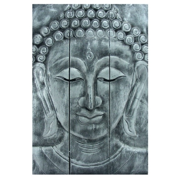 Wooden Buddha Head Wall Art Panel 60Cm X40Cm 24X16 Old Silver With Regard To Popular Silver Buddha Wall Art (View 11 of 15)