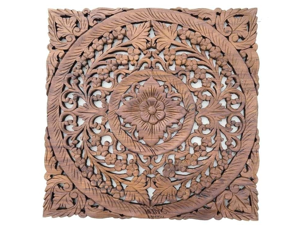 Wooden Wall Art Panels Pertaining To Most Up To Date Wooden Wall Art Panels Carved Wood Beautiful Lotus Hanging Panel For (View 3 of 15)
