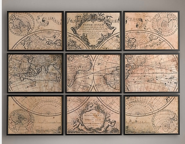 World Decoration Vintage Maps Wall Art Treasure Old Classic No Color Within Most Popular Antique Map Wall Art (View 14 of 15)