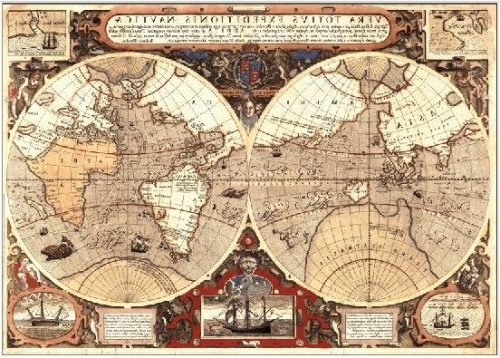World Map Poster Large: Giant Historical Map Of The World, 1595 Throughout Most Current Antique Map Wall Art (View 15 of 15)
