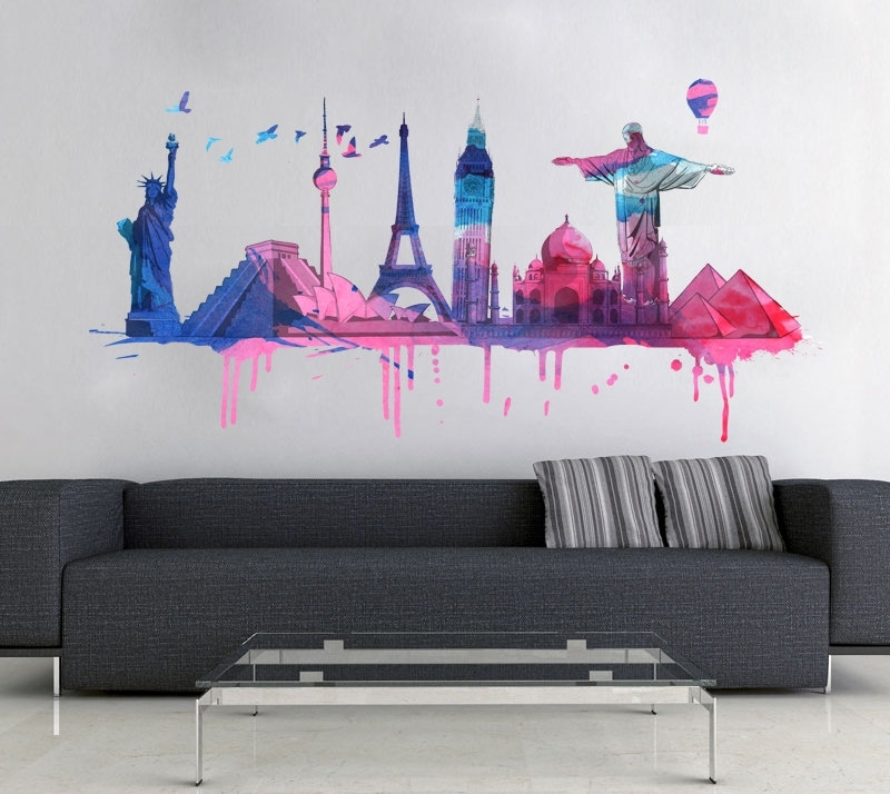 World Wall Art Regarding Well Known World Travel Watercolor Decal For Housewares · Moonwallstickers (View 12 of 15)