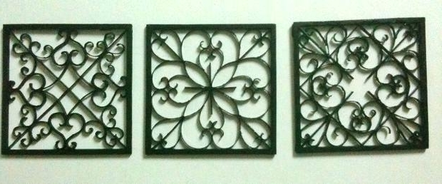 Wrought Iron Wall Decor Outdoor Metal Wall Art Metal Wall Hanging for Well known Faux Wrought Iron Wall Art
