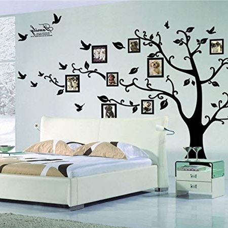 X Large Diy Family Tree Wall Art Stickers Removable Vinyl Black Within 2017 Vinyl Wall Art Tree (View 15 of 15)