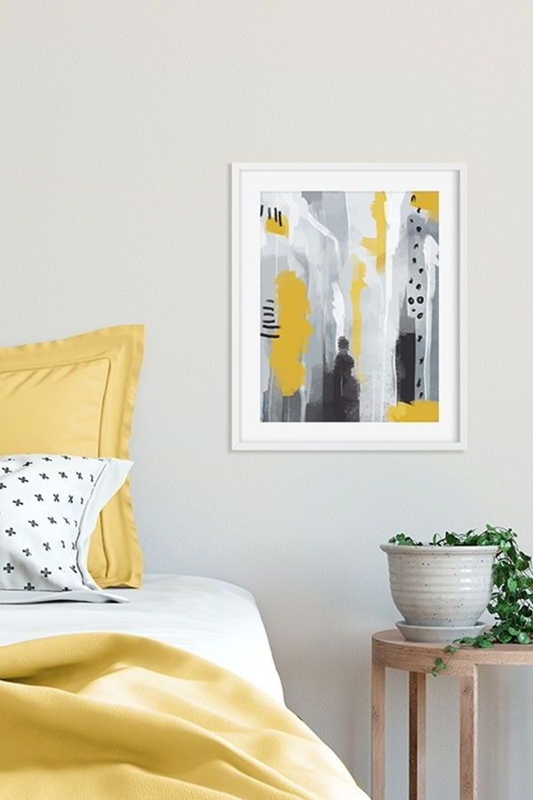 Yeallow And Grey Art Print, Bedroom Wall Art, Abstract And Bold Wall For Popular Bold Abstract Wall Art (View 15 of 15)