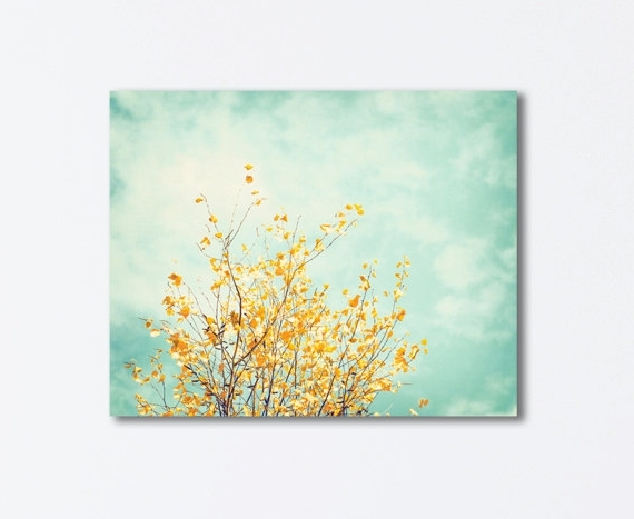 Yellow And Blue Wall Art in Current Nature Canvas Art - Mint Green Yellow Turquoise Light Blue Tree