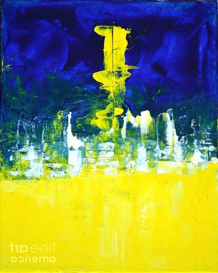 Yellow And Blue Wall Art in Favorite Yellow And Blue Wall Art Aura Painting Higher Mind Blue Lemon Yellow