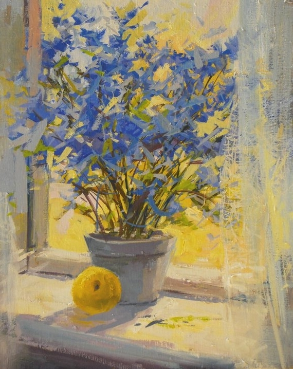 Yellow And Blue Wall Art regarding Best and Newest Yellow Blue Flowers Painting Print Floral Canvas Art Yellow