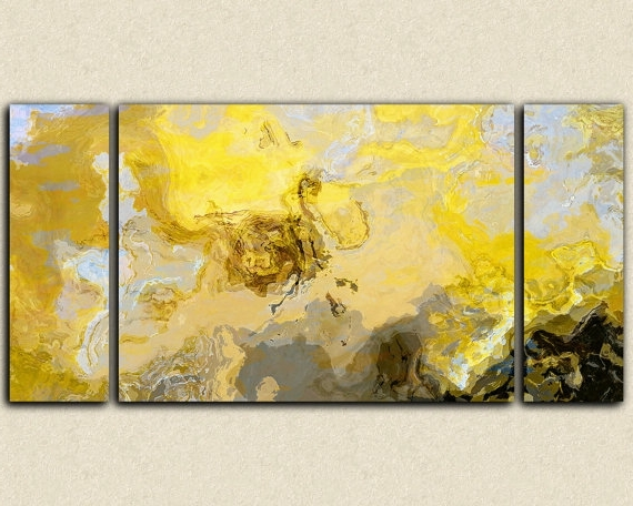 Yellow And Grey Abstract Wall Art With Newest Black White Yellow And Grey Abstract Canvas Wall Art Print I Yellow (View 13 of 15)