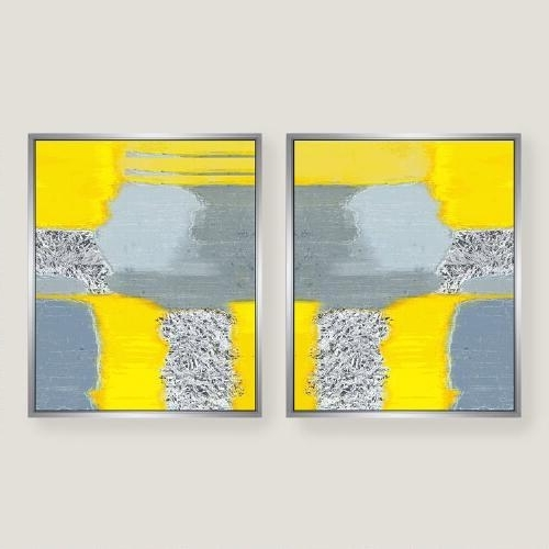 Yellow Grey Wall Art for Most Current Yellow Grey Abstract Canvas Wall Art