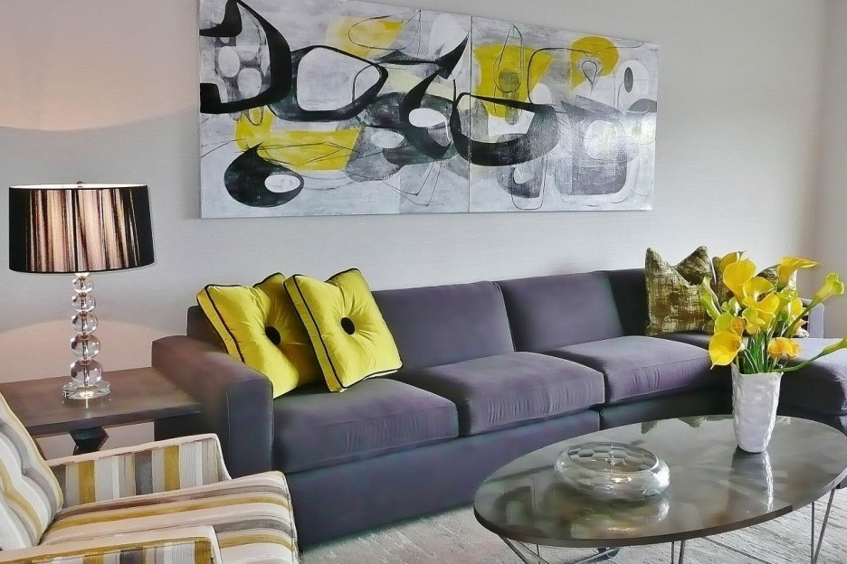 Yellow Grey Wall Art intended for Most Up-to-Date Wall Art: Glamorous Yellow And Grey Wall Art Yellow And Gray Artwork