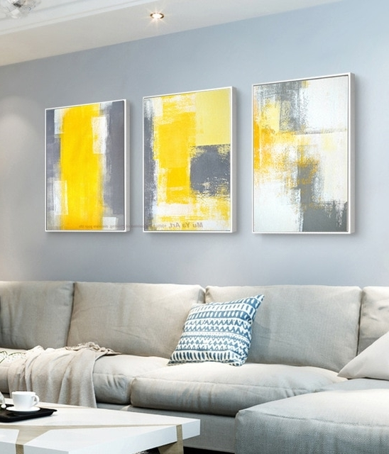 Yellow Grey Wall Art regarding Widely used Muya 3 Piece Canvas Painting Abstract Oil Painting Handmade Bright