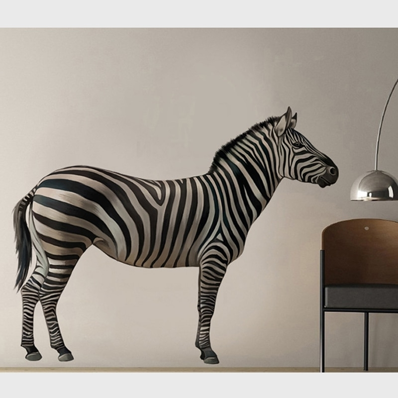 Zebra 3D Wall Art Pertaining To 2017 3D Realistic Zebra Decorative Wall Stickers Creative Home Decor For (View 12 of 15)