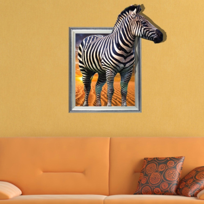Zebra 3D Wall Art With Best And Newest Removable Zebra Decoration Wall Stickers Home Decor Modern Animal (View 13 of 15)