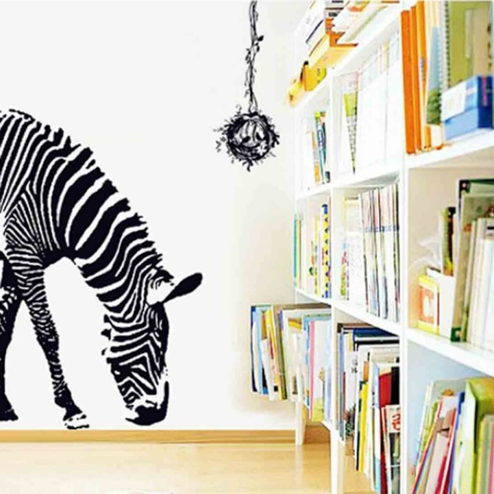 Zebra 3D Wall Art With Well Liked 100*95Cm Large Pvc Wall Decals Black Zebra 3D Removable Animal Wall (View 6 of 15)