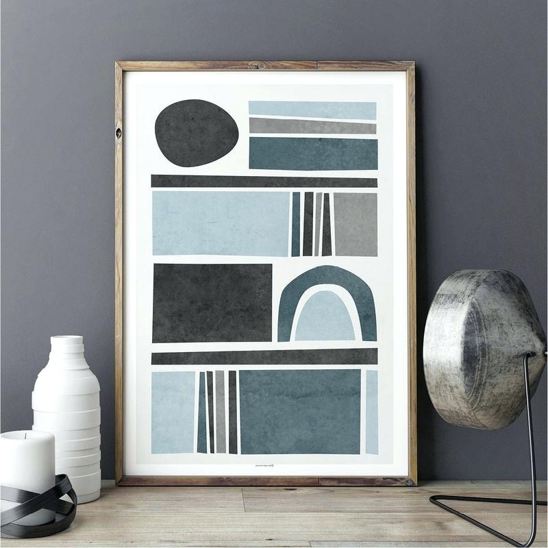 Zoom Blue And Gray Wall Art White Bathroom Home Decor Canvas Prints Throughout Current Abstract Wall Art For Bathroom (View 15 of 15)