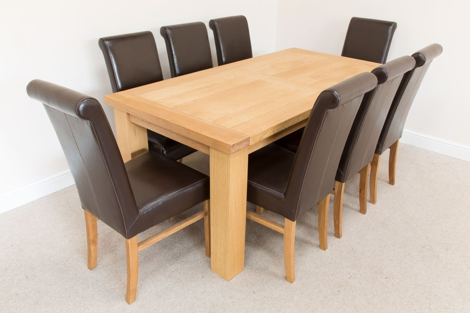 1.8M Riga Oak Dining Table 8 Emperor Brown Leather Dining Chairs Throughout Well Known Cheap Oak Dining Sets (Gallery 20 of 25)