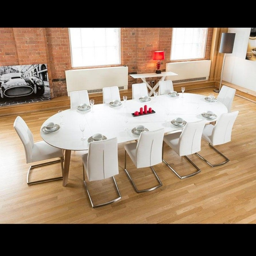 10 Seat Dining Tables And Chairs in Most Up-to-Date Large 3400Mm Oval Boardroom/dining Table Set With 10 White Chairs