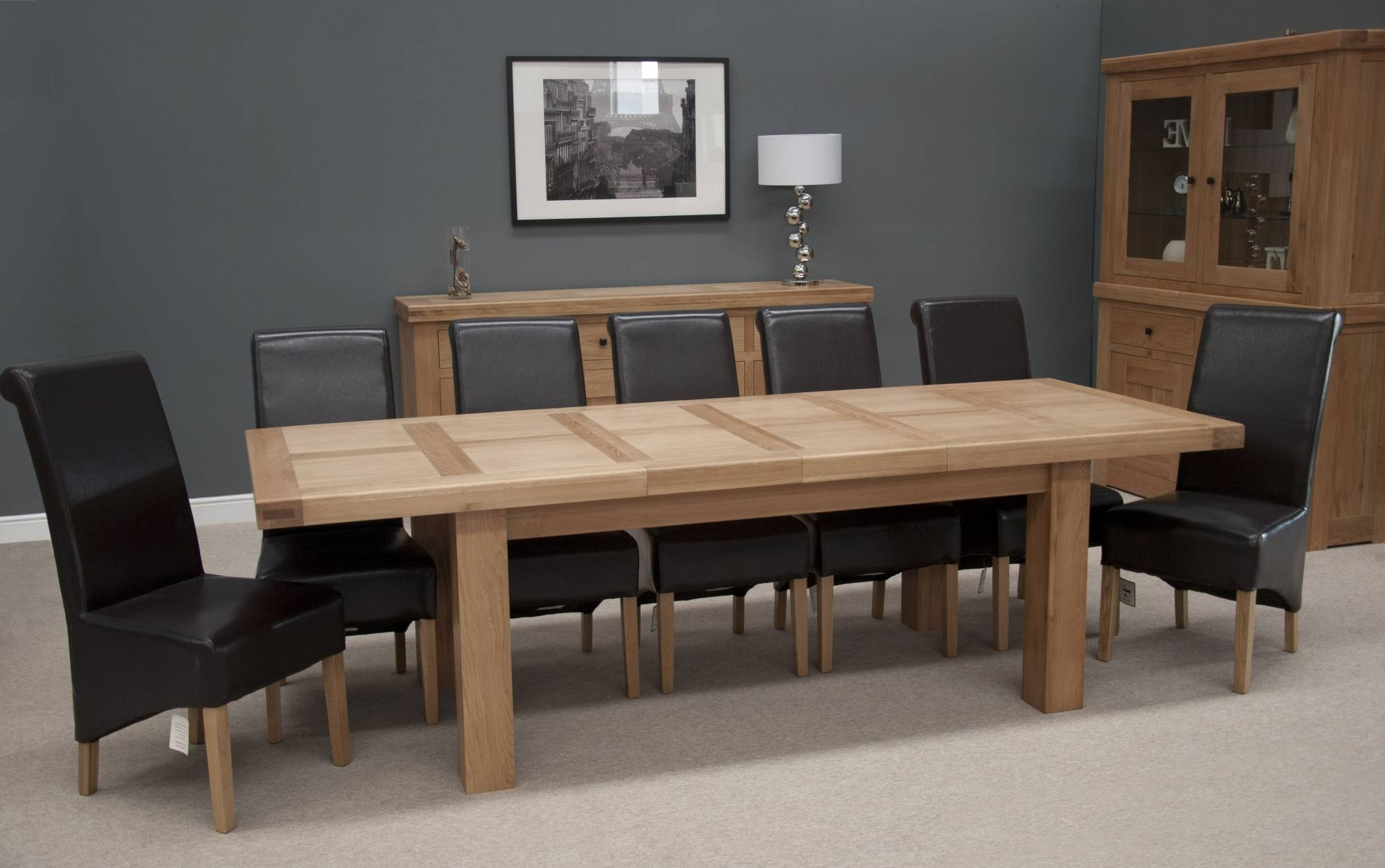 10 Seater Dining Tables And Chairs Intended For Famous Homestyle Bordeaux Thick Top Solid Oak Grand Extending Dining Table (View 18 of 25)