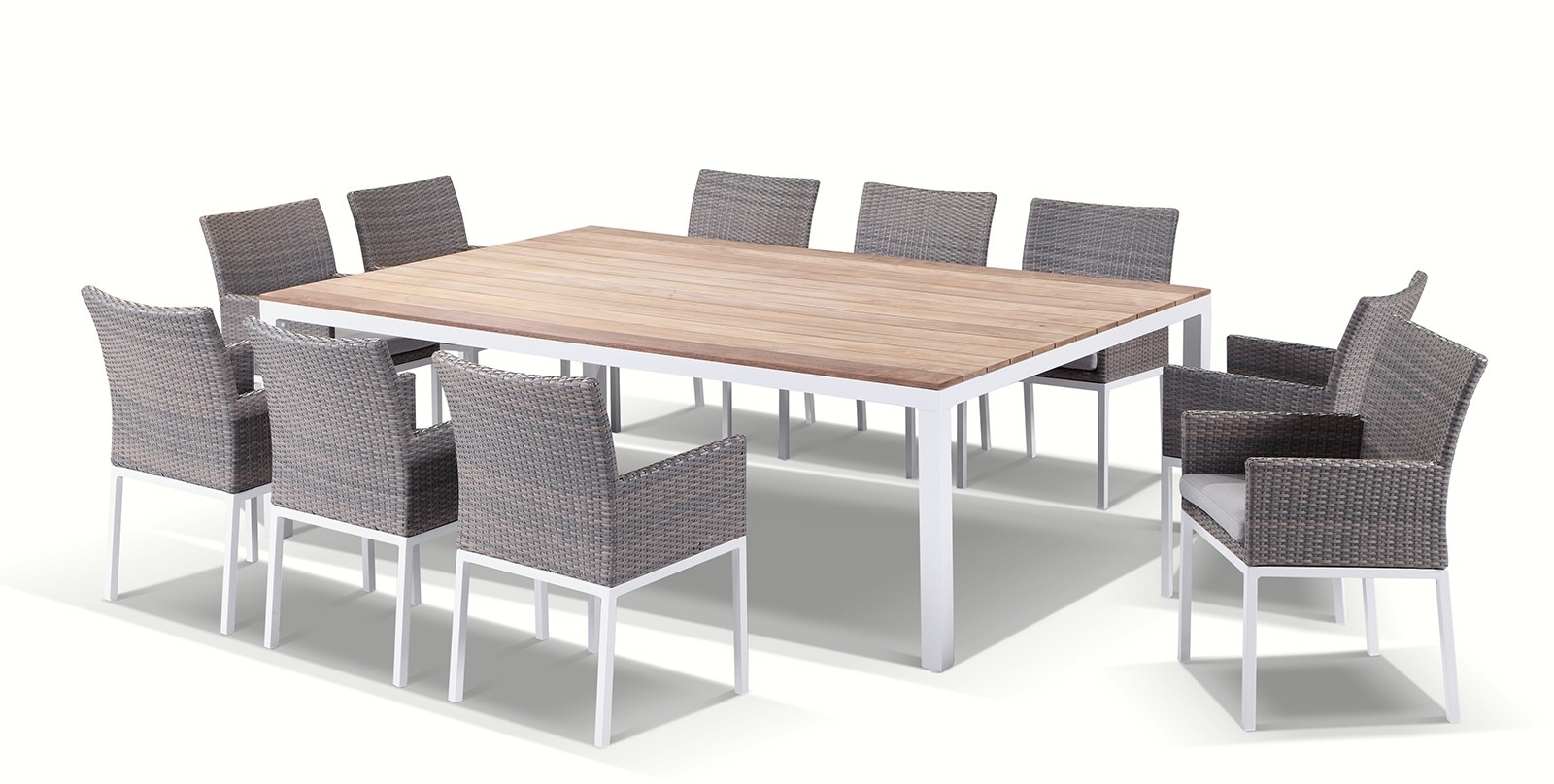 10 Seater Dining Tables And Chairs Within Most Current Tuscany 10 Seater Teak And Aluminium Dining Setting (View 9 of 25)
