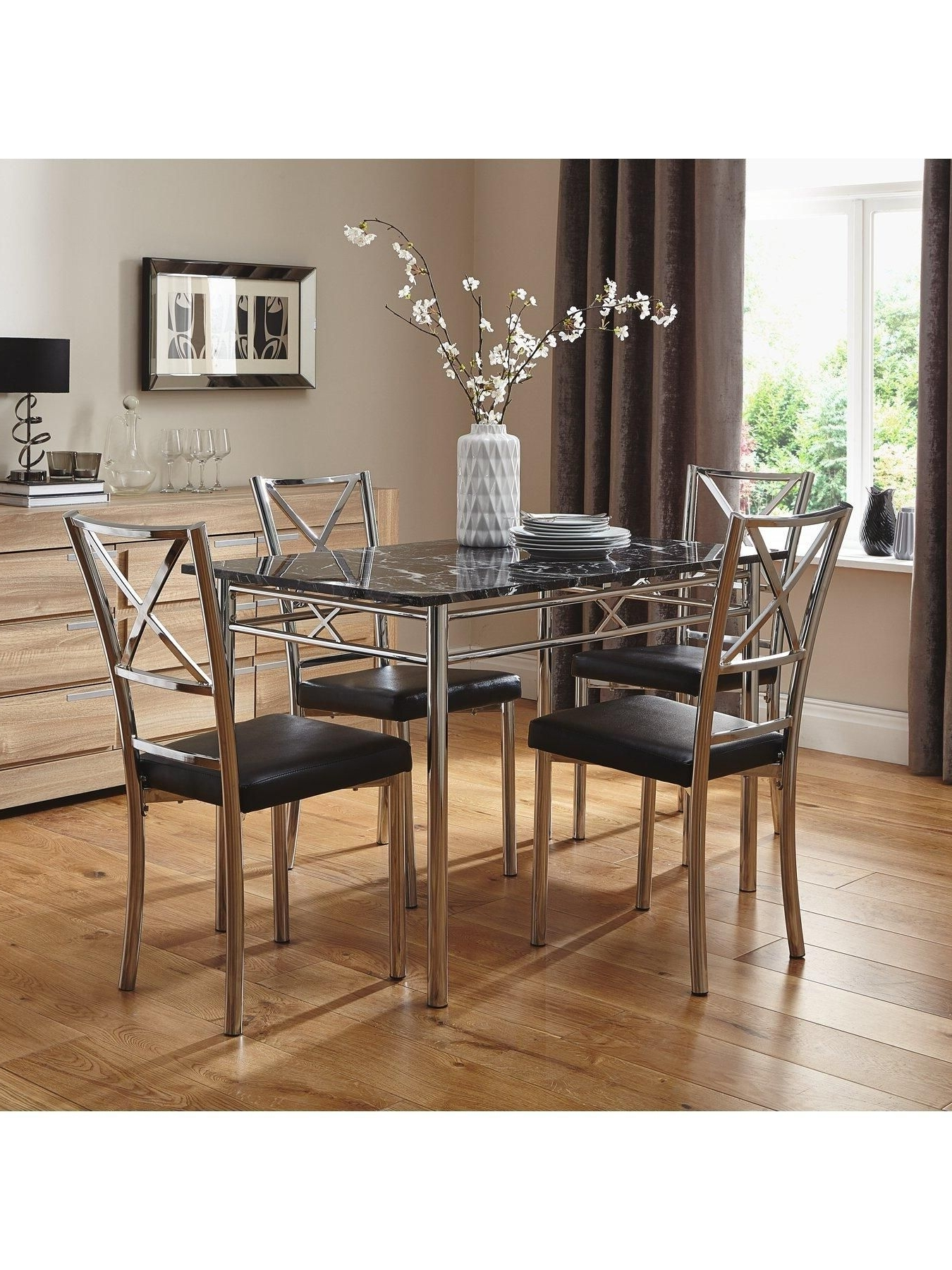 120 Cm Marble Effect Dining Table + 4 Chairs (Gallery 5 of 25)